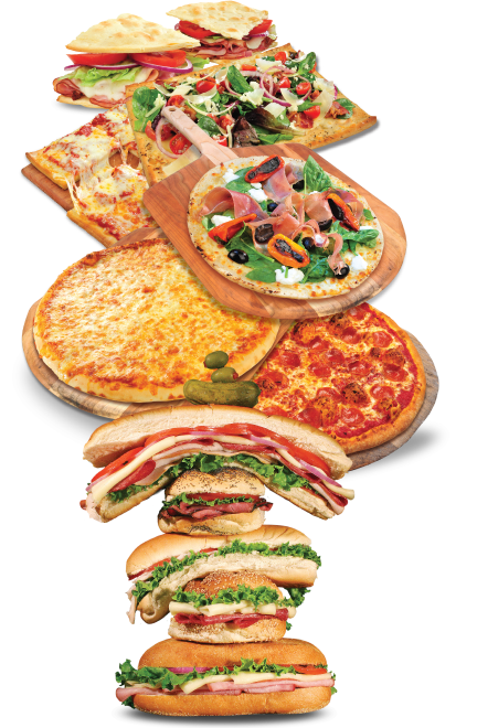 stack of subs, pizzas, alternative crusts, gluten free crusts, flatbreads using DeIorio's products