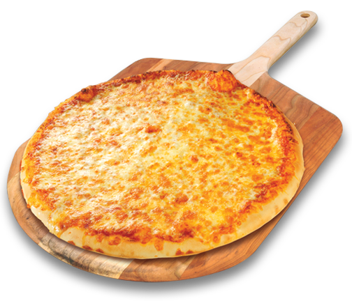 cheese pizza on pizza peel