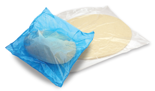 individually wrapped dough ball and dough flat