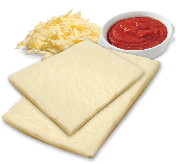 2 dough flats with cheese and sauce